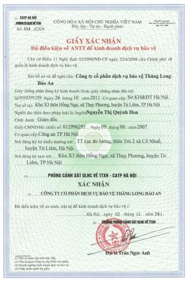 Mẫu giấy chứng nhận đủ điều kiện an ninh trật tự